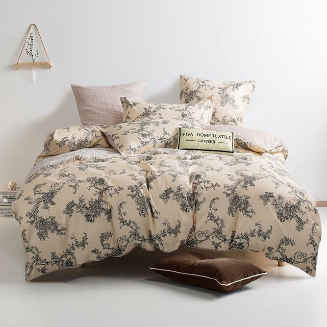 Комплект постельного белья Сатин Вышивка на резинке CNR047