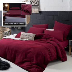 Комплект постельного белья Однотонный Сатин на резинке CSR022