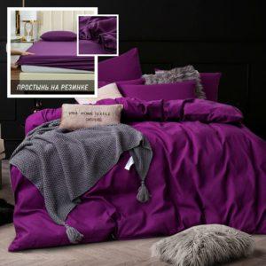 Комплект постельного белья Однотонный Сатин на резинке CSR027